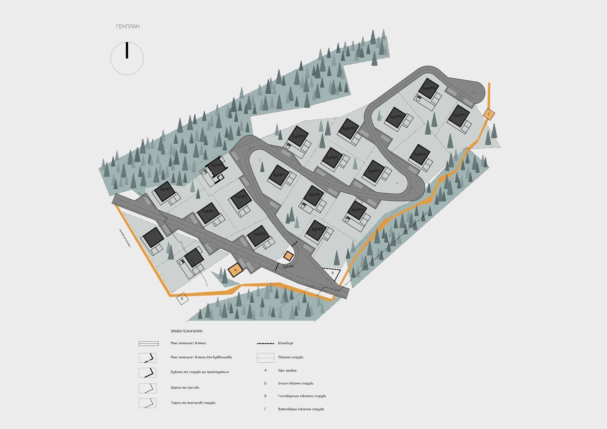 дизайнерский проект котеджного городка в Украине